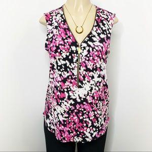 CHAUS Pink & Black Zip Front V-neck Blouse Medium